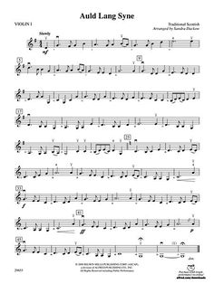 Download Auld Lang Syne: 1st Violin Sheet Music By Sandra Dackow (SKU: AX.00-PC-0001531_VN1)