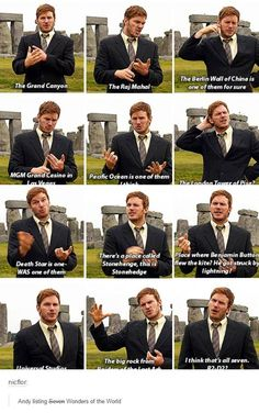 Dwyer names off the 7 Wonders of the World. Parks and Recreation.Andy Dwyer names off the 7 Wonders of the World. Parks and Recreation. Best Tv Shows, Best Shows Ever, Favorite Tv Shows, Lito Rodriguez, Movie Quotes, Funny Quotes, Parks And Recs, Parks Department, Parks And Recreation