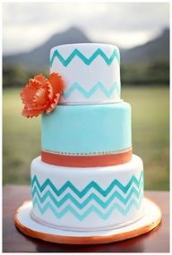 Modern Cake of Hawaiian Wedding Cakes for Outdoor Cake Design Pretty Cakes, Cute Cakes, Beautiful Cakes, Amazing Cakes, Orange Wedding, Wedding Colors, Teal Wedding Cakes, Teal Weddings, Wedding Desserts