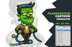 Frankenstein Cartoon Character by pixaroma on Creative Market