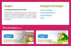 CATEGORIAS DE LOS JUEGOS DE FONOLAB:  niveles fonológico / semántico / morfosintáctico y otros juegos