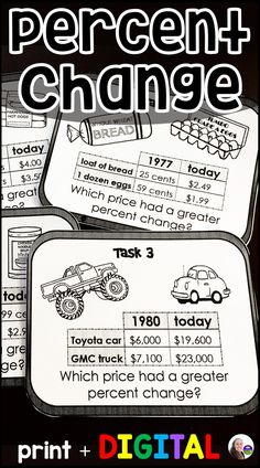 """*Now includes both printable and digital GOOGLE Forms versions.  Students find percent change between """"then and now"""" costs of 2 items listed on each card. They then compare the percent increases to determine which item's cost increased the most over the years. Students compare prices of food, cars, homes, salaries and other items from what they cost in past decades to what they cost today. Prices are historically accurate, which brings up good discussion about inflation and the cost of living. Learning Resources, Teaching Tools, Teaching Math, Maths, Consumer Math, Math Classroom, Google Classroom, 7th Grade Math, Thing 1"""