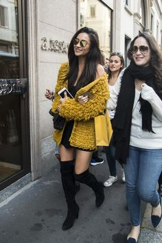 Shay Mitchell wearing  For Love And Lemons Joplin Cardigan, Thom Browne Round Frame Sunglasses, Chanel 2.55 Classic Flap Bag, Stuart Weitzman Highland Stretchy Suede Over-the-Knee Boot
