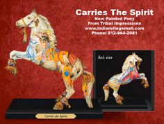 Carries the Spirit Painted Pony By Lynn Bean From Tribal Impressions- Review off of: http://www.indianvillagemall.com/statue/ppcarriesthespirit.html    You can review the complete line of Painted Ponies -watch some videos about them and learn their history off of: http://www.indianvillagemall.com/statue/ppmenu.html