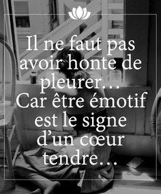 Il ne faut pas avoir honte de pleurer... Car être émotif est le signe d'un coeur tendre...