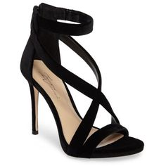 Women's Imagine Vince Camuto 'Devin' Sandal (400 PLN) ❤ liked on Polyvore featuring shoes, sandals, heels, scarpe, black velvet, ankle wrap sandals, ankle strap shoes, black heeled sandals, strappy sandals and ankle strap sandals
