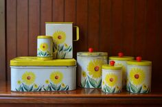 R A R E 7 Piece 1950 Retro Shabby Chic Kitchen Yellow Sunflower Set Bread Box, 4 Canisters Original Unused Red Plastic Knobs, 2 Dispensers
