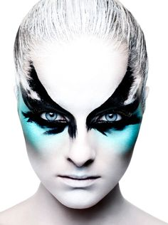 Fantasy/Theatrical #makeup #beauty #cosmetics; black blue and white