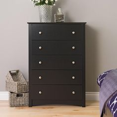 Get back to basics with the Broadway 5 Drawer Chest. This modern twist on the classic bedroom piece accommodates five drawers' worth of your clothing.It's a great choice for those who want furniture with both contemporary looks and huge storage potential.