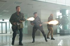 Arnold Schwarzenegger, Sylvester Stallone, and Bruce Willis in The Expendables 2 (2012