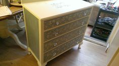 Hand painted as a birthday present. Annie Sloane cream and duck egg blue.