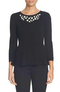 CeCe Embellished Neck Peplum Sweater