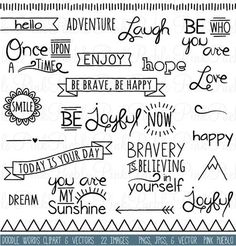 Doodle Words Clipart Clip Art, Typography Word Subway Art Clip Art Clipart Vectors - Commercial and Personal Use: