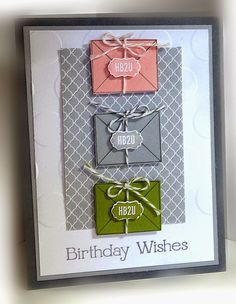 Simply Simple Birthday wishes envelopes twine can use lattice die for the back HB2U gray dots card
