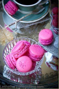 Raspberry macarons. by LettheBakingBeginBlog.com