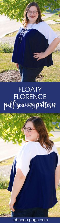 Ladies plus size sewing pattern. Floaty Florence - gorgeous, comfy an a great beginner sewing project! Sizes XXS to 5XL.