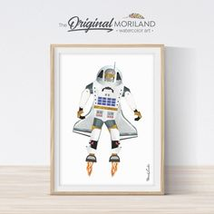 Houston the Space Robot - Printable Art Toddler Boy Room Decor, Boys Room Decor, Playroom Decor, Baby Boy Rooms, Baby Boys, Nursery Prints, Nursery Wall Art, Printing Services, Online Printing