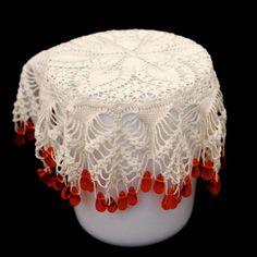 Vintage Milk Jug Pitcher Sugar Bowl Cover Glass Beads & Hand Crochet Doilies £10.00 (BOA)