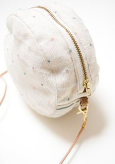 Stitched Dotted Pastel Bag Circle Waxed Canvas Purse by noemiah