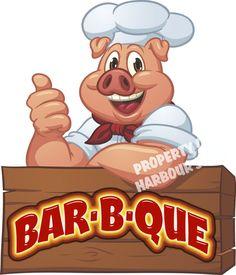 "BAR-B-QUE Decal 14"" BBQ Restaurant Concession Trailer Food Truck Vinyl Sticker #HarbourSigns"