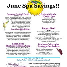 Whether it's a gift for dad, or you'regearing up for some summer fun, our June specials have you covered. Spa Promo, Spa Brochure, Spa Specials, Spring Spa, Bikini Wax, Summer Skin, Promotional Events, Spa Treatments