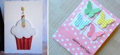 Geburtskarten mit Cupcake und Schmetterling Motiven