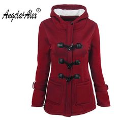Angela&Alex Horn button Jacket coat 2017 new women slim fit plus size hooded tracksuit Over Coat Autumn 6 color ladies coat