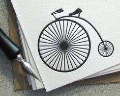 Bicycle Letterpress Note Card Set Penny Farthing by sweetharvey