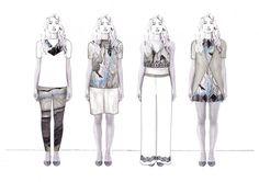 Fashion Sketchbook - lineup drawings; fashion illustration; fashion portfolio // Faye Tinmouth