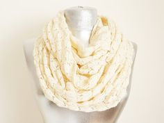Scarf - Handmade lvory Chunky  Infinity Scarf -Summer scarf-Cotton scarf-Shawl on Etsy, $19.90