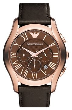 Emporio Armani Round Chronograph Leather Strap Watch, 45mm available at #Nordstrom