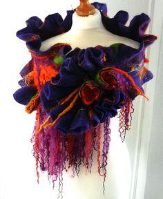 felted woman ART scarf  ,shawl- BLOSSOM-2