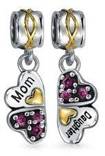 Bling Jewelry 925 Silver Crystal Flower Mom Daughter Bead Charm Set.