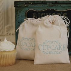 Cupcake mix. wedding favors.  Serve cupcakes, then their mix.  Take-home flowers as centerpieces.