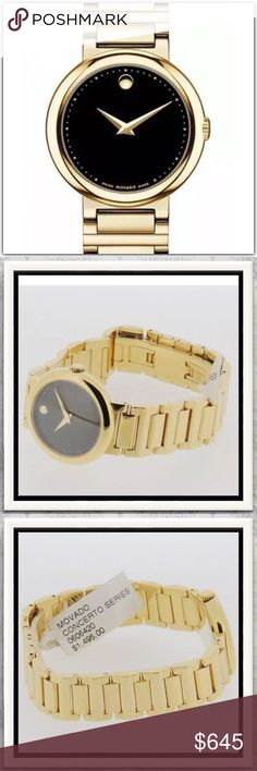 Movado Concerto Swiss Quartz Watch Brand: Movado Model: 0606420          Description: Ladies Movado Concerto Gold-Tone Quartz Watch, Model 0606420 Citizen ORIGINAL RETAIL PRICE: $1,495   Bezel Color / Description: Bracelet and Clasp: Polished Gold-Tone Stainless Steel, Double Fold Over Bracelet Width: 16mm Diameter 28mm  Thickness: 7mm Crown: Push / Pull   Crystal: Anti-Reflective Scratch Resistant   Dial: Black With Gold-Tone Hands And Classic Movado 12 O'Clock Accent Movado…