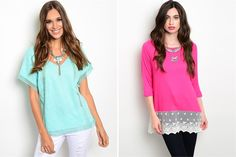 Laser Cut & Lace Tunics Clearance - 2 Styles! 68% OFF