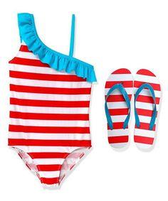 Look what I found on #zulily! Red Stripe Asymmetrical One-Piece & Flip-Flops - Girls by AquaSplash #zulilyfinds