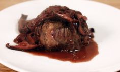 Filet Mignon with a Shiitake, Red Wine & Shallot Sauce