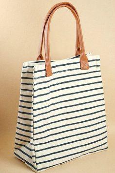 767454224a15 Striped cotton bag canvas bag women bag shoulder bag by Ayufashion