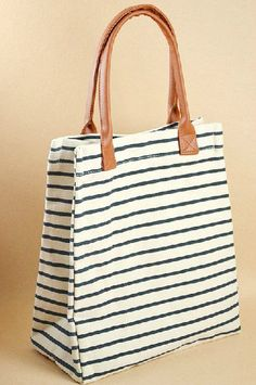 Striped cotton bag canvas bag women bag shoulder bag by Ayufashion, $29.50