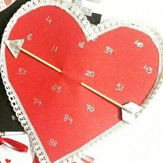 Valentines day theme. Heart with arrow tambola tickets. Follow us on facebook   Kittypartyy.com