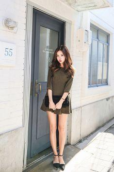 Mini Suede Shirring Dress
