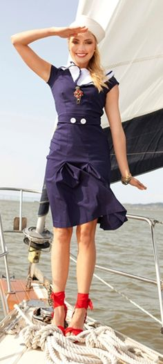 Nautical Dress, Nautical Fashion, Trendy Fashion, Nautical Style, 1940s Fashion, 1940s Dresses, Cute Dresses, Vintage Dresses, Modest Dresses