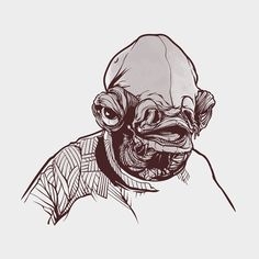 Admiral Ackbar 2 color screen print by Joshua Budich