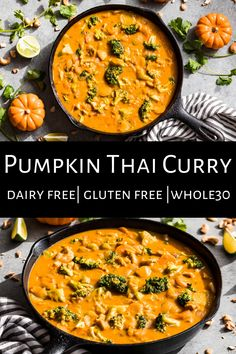 This Pumpkin Thai Chicken Curry is the perfect easy dinner, and it's extra creamy thanks to the puréed pumpkin and coconut milk. It's simple to make with pantry ingredients and loads of veggies. It's gluten free, dairy free, paleo, and Whole30 as well. I love making a big batch so I can eat this one all week long because it's perfect fall comfort food! #thaicurry #pumpkin #chicken