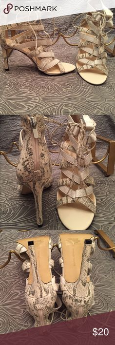 Banana Republic Sexy Lace-up Strappy Sandals 9.5 Really hot 2-tone reptile embossed strappy heeled sandals   Neutral colors so they go with everything.  Cream, gray, soft black.  Lace up with a back zipper.  Really good used condition. Banana Republic Shoes Heels