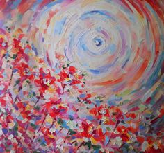 Abstract Oil painting Red flowers Girly Feminine Pastel Art Orange prima Palette knife Original miniature handmade Colorful Interior Decor by FrozenLife on Etsy