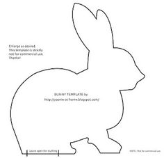 Free Bunny Pattern- can use for my bunny table runner Easter Bunny Template, Bunny Templates, Felt Templates, Animal Templates, Free Rabbits, Sewing Crafts, Sewing Projects, Felt Bunny, Bunny Rabbit