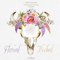 Watercolor floral bull skull. Tribal, Wild, Boho flowers clipart, Berries, Bohemian, Wild, Wedding invitation. Skulls with antlers. DIY by ReachDreams on Etsy https://www.etsy.com/listing/245296816/watercolor-floral-bull-skull-tribal-wild