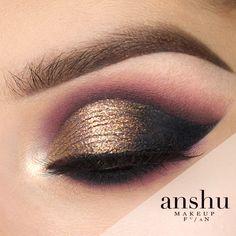 New Year cut crease by Anshu. Makeup Geek Eyeshadows in Corrupt. Makeup Geek Gel Liner Immortal. Makeup Geek Sparklers Satellite and Stargazer.